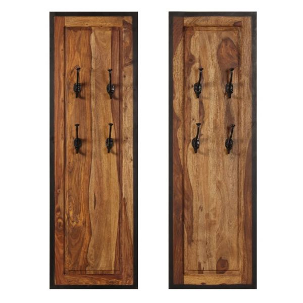 Coat Racks 2 pcs Solid Sheesham Wood 2
