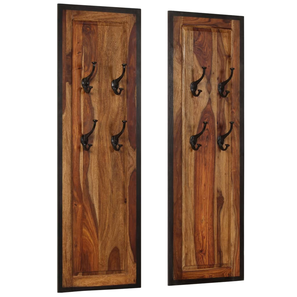 Coat Racks 2 pcs Solid Sheesham Wood 11