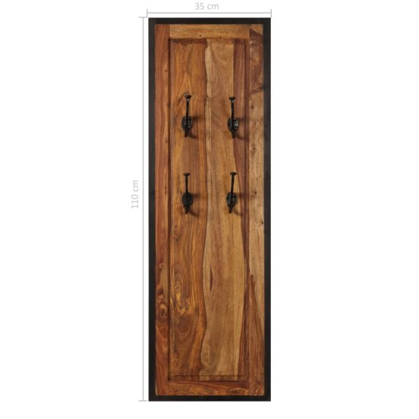 Coat Racks 2 pcs Solid Sheesham Wood 8