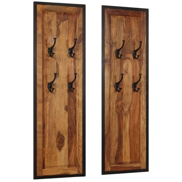 Coat Racks 2 pcs Solid Sheesham Wood 10