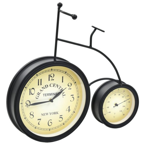 Garden Wall Clock with Thermometer Bicycle Vintage 2