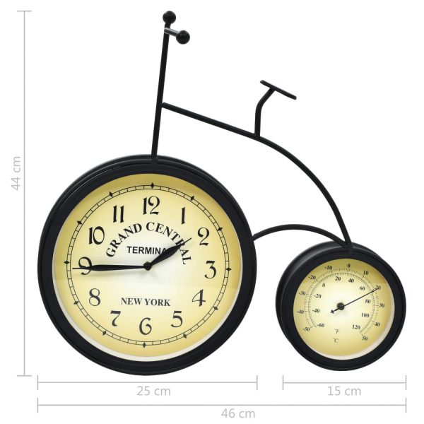Garden Wall Clock with Thermometer Bicycle Vintage 7
