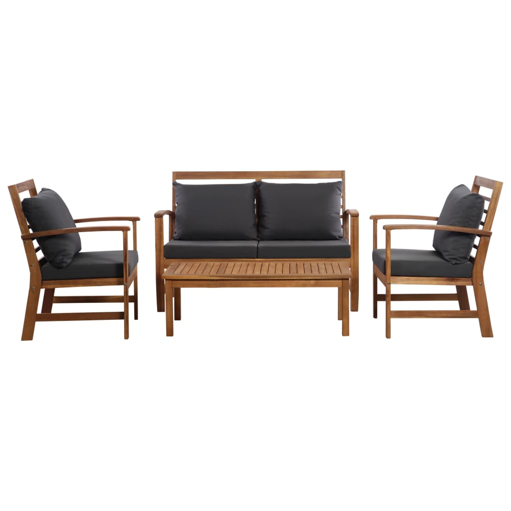 4 Piece Garden Lounge Set with Cushions Solid Acacia Wood 1