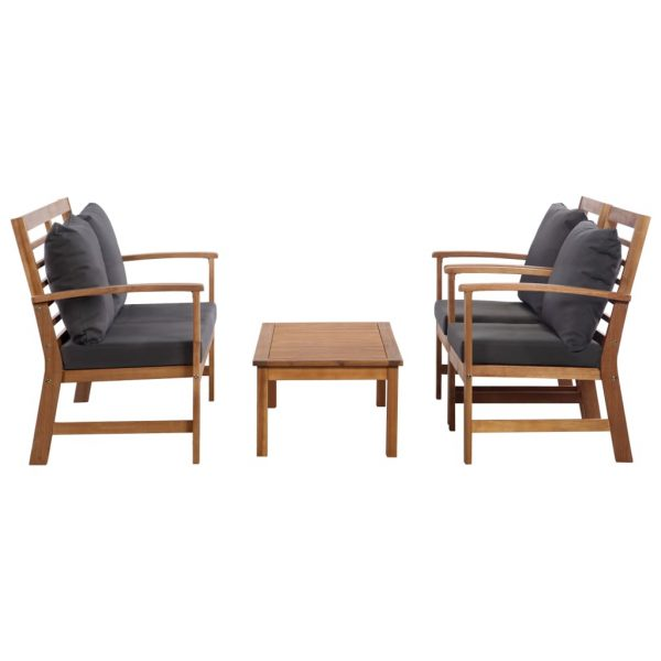 4 Piece Garden Lounge Set with Cushions Solid Acacia Wood 2