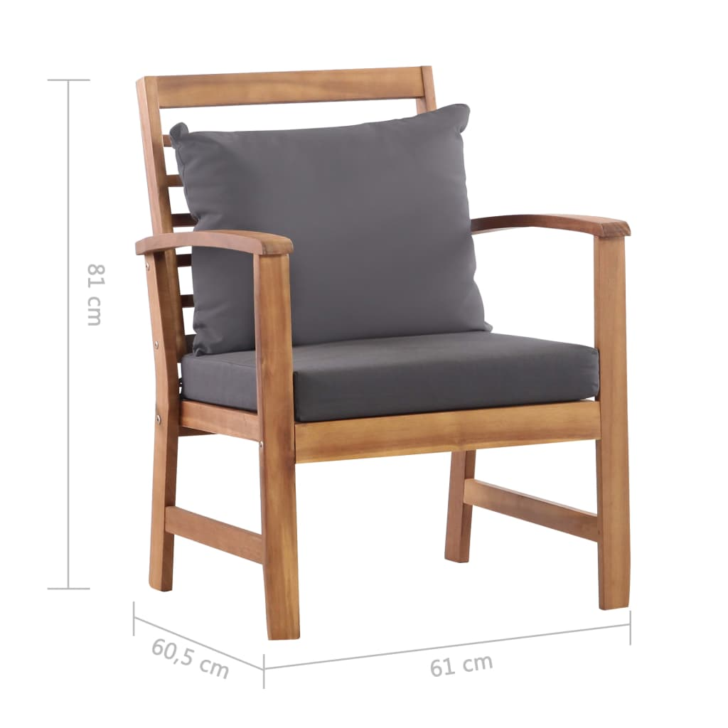 4 Piece Garden Lounge Set with Cushions Solid Acacia Wood 11
