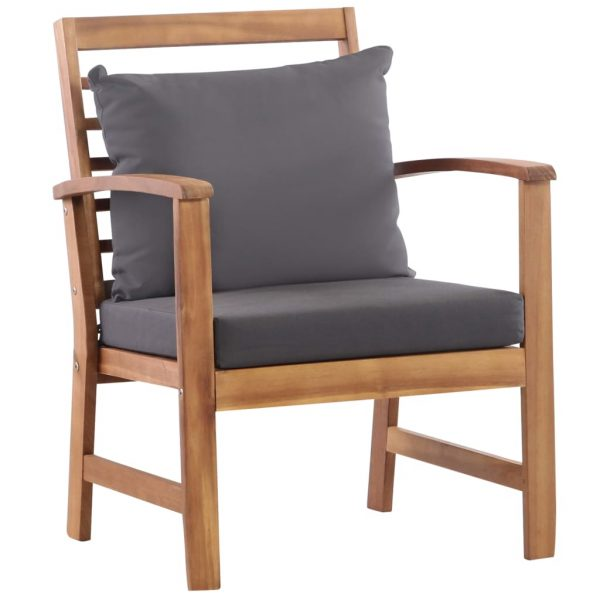 4 Piece Garden Lounge Set with Cushions Solid Acacia Wood 3