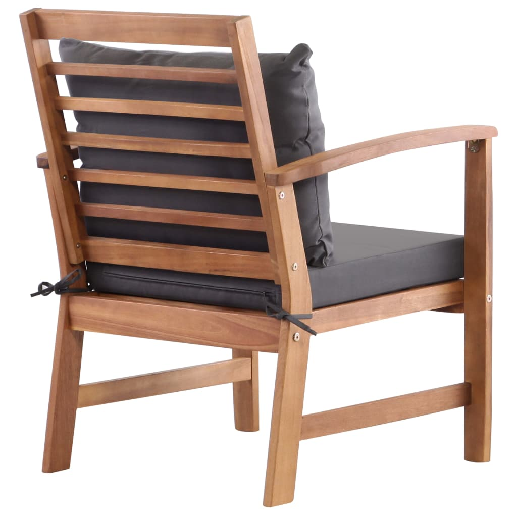 4 Piece Garden Lounge Set with Cushions Solid Acacia Wood 5