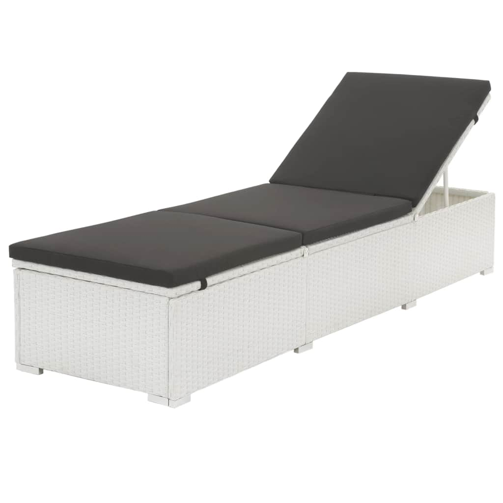 Sun Lounger with Cushion Poly Rattan White 1