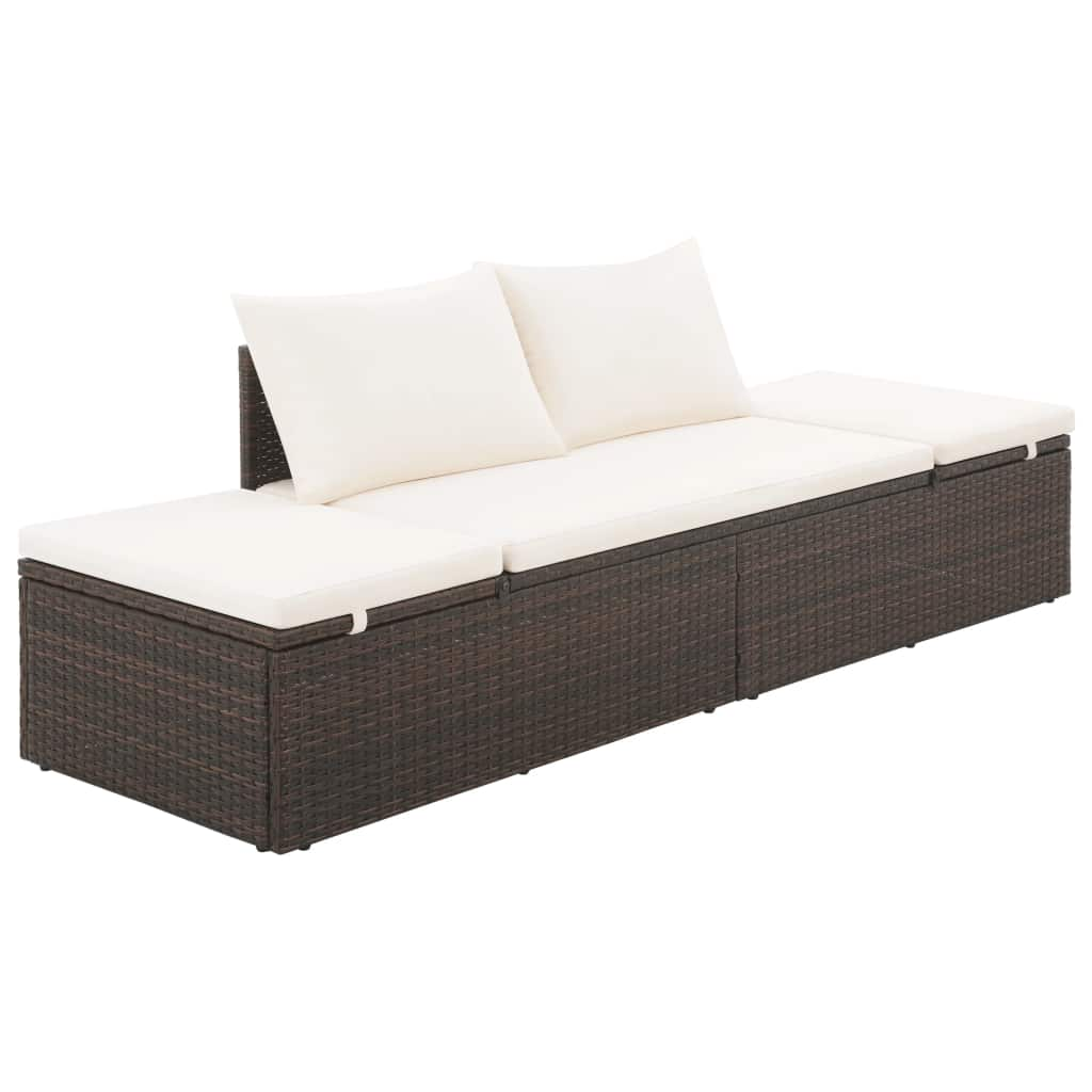 Garden Bed Brown 195×60 cm Poly Rattan 1