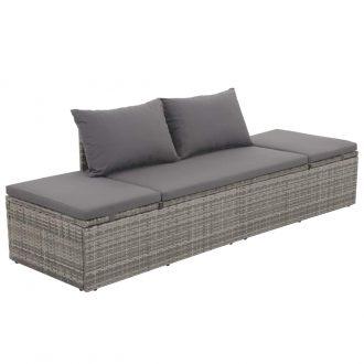 Garden Bed Grey 195×60 cm Poly Rattan 1