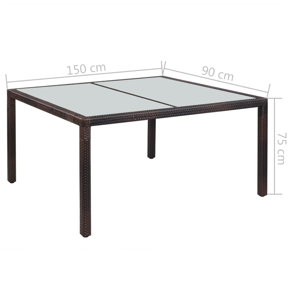 Garden Table 150x90x75 cm Brown Poly Rattan and Glass 2