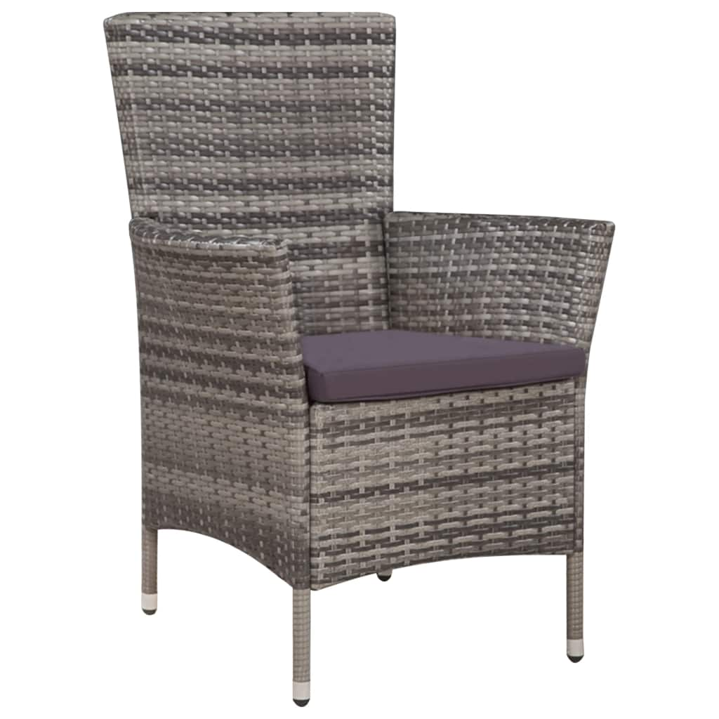 9 Piece Outdoor Dining Set with Cushions Poly Rattan Grey 4