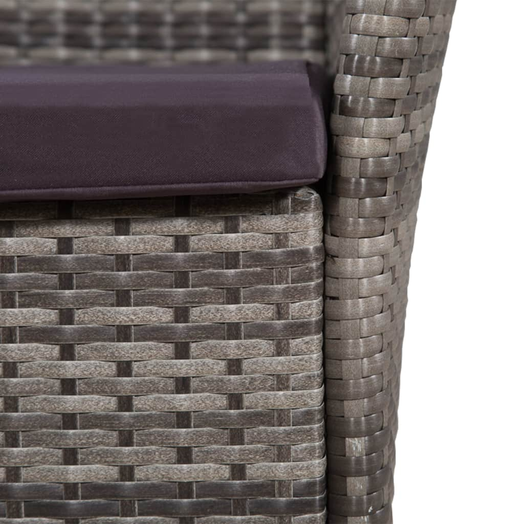 9 Piece Outdoor Dining Set with Cushions Poly Rattan Grey 5