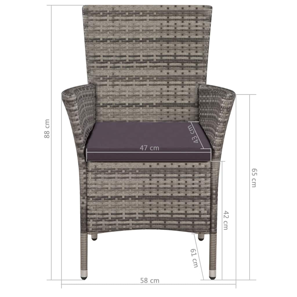 9 Piece Outdoor Dining Set with Cushions Poly Rattan Grey 7