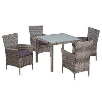 5 Piece Outdoor Dining Set with Cushions Poly Rattan Grey 1