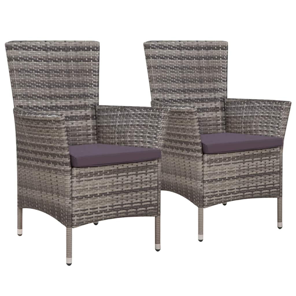 Garden Chairs 2 pcs with Cushions Poly Rattan Grey 1