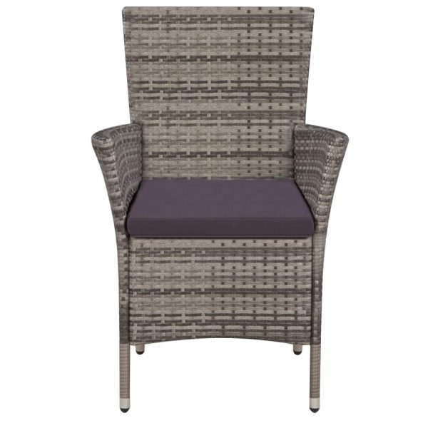 Garden Chairs 2 pcs with Cushions Poly Rattan Grey 3