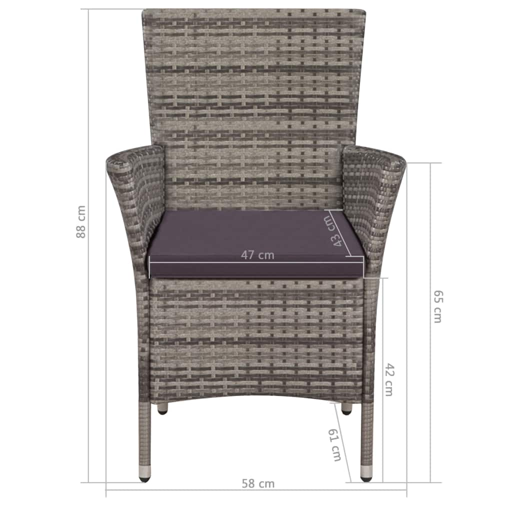 Garden Chairs 2 pcs with Cushions Poly Rattan Grey 4