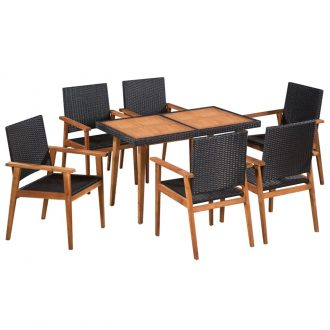 7 Piece Outdoor Dining Set Poly Rattan Black and Brown 1