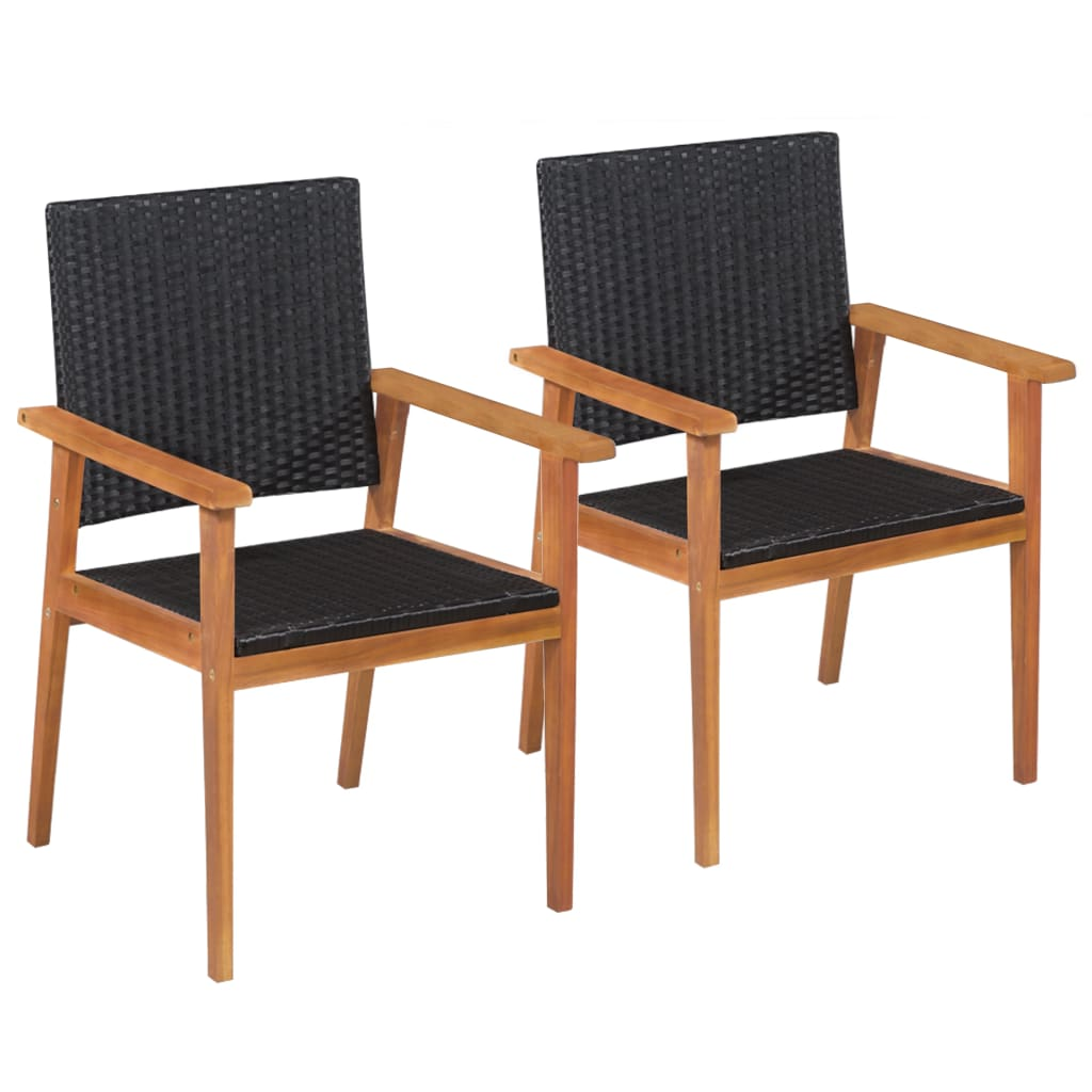 Outdoor Chairs 2 pcs Poly Rattan Black and Brown 1