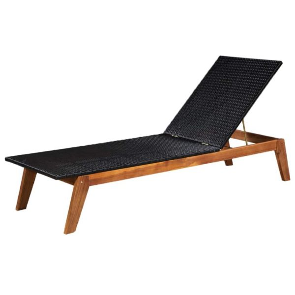Sun Lounger Poly Rattan and Solid Acacia Wood 1