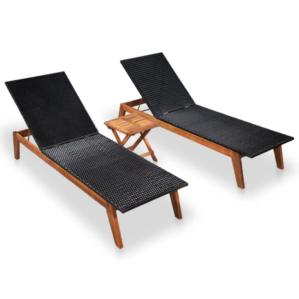 Sun Loungers 2 pcs with Table Poly Rattan and Solid Acacia Wood 1