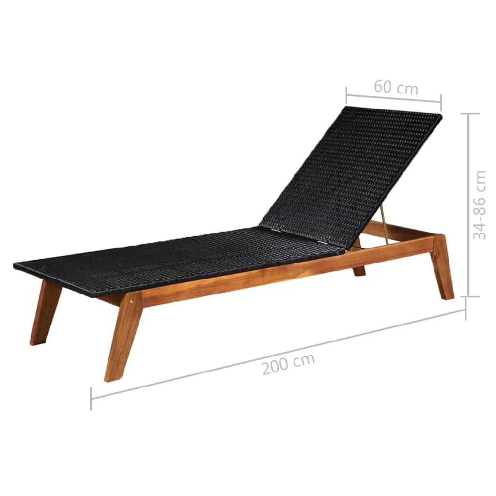Sun Loungers 2 pcs with Table Poly Rattan and Solid Acacia Wood 7