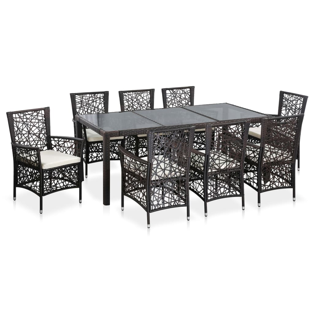 9 Piece Outdoor Dining Set Poly Rattan Brown 1