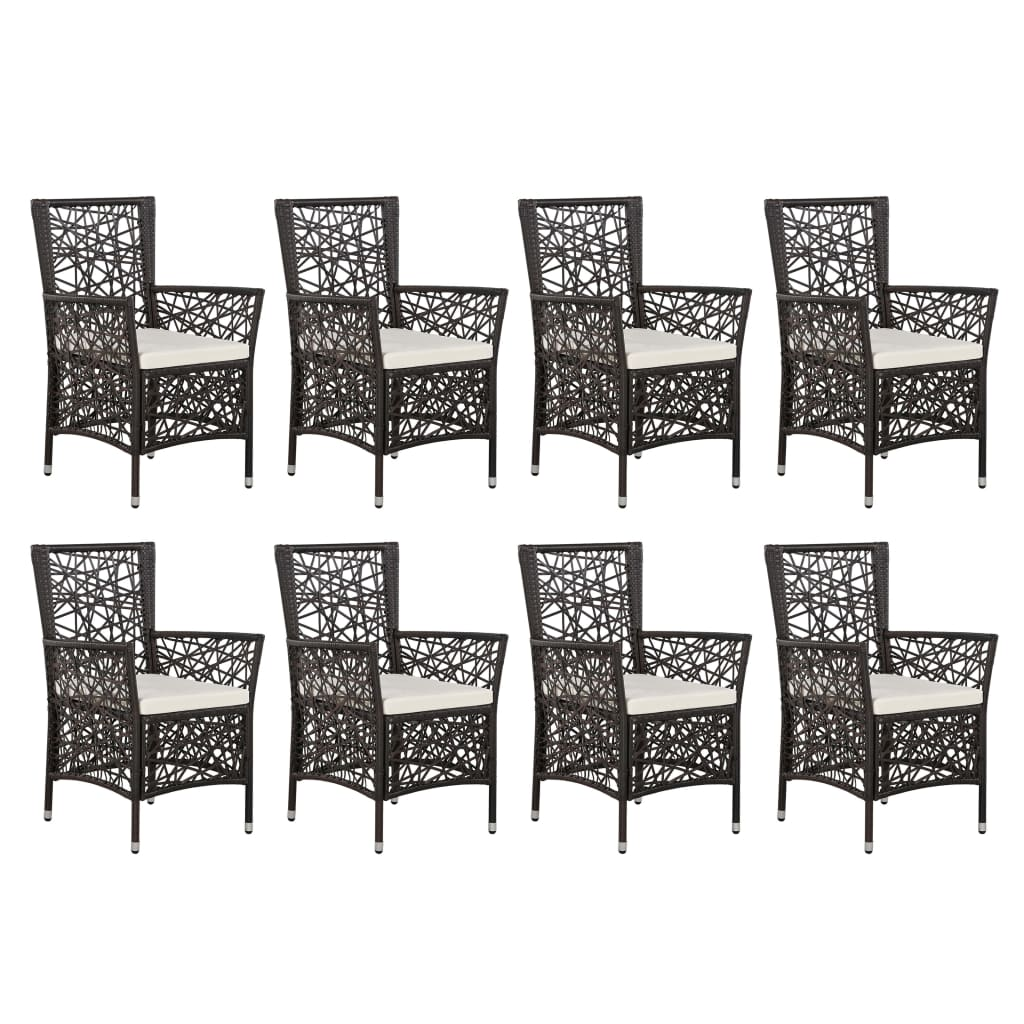 9 Piece Outdoor Dining Set Poly Rattan Brown 3