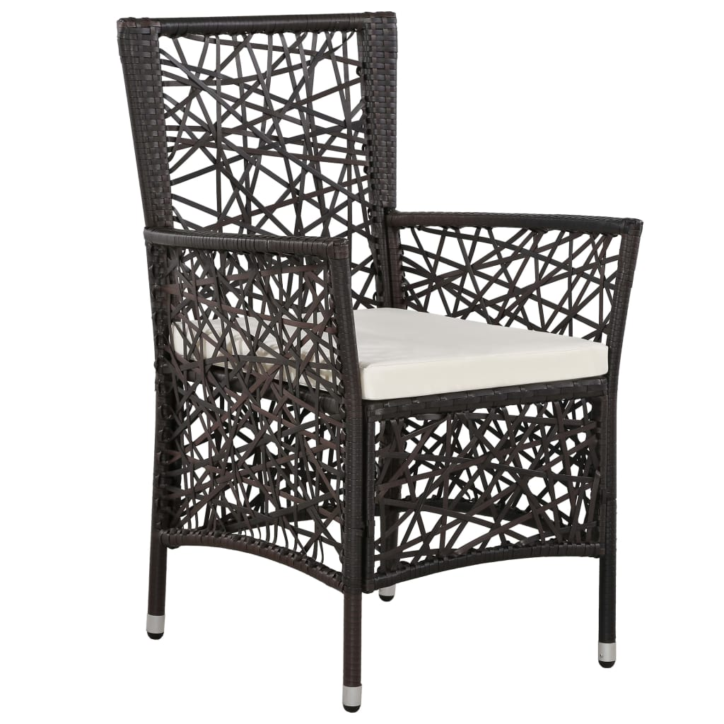 9 Piece Outdoor Dining Set Poly Rattan Brown 4
