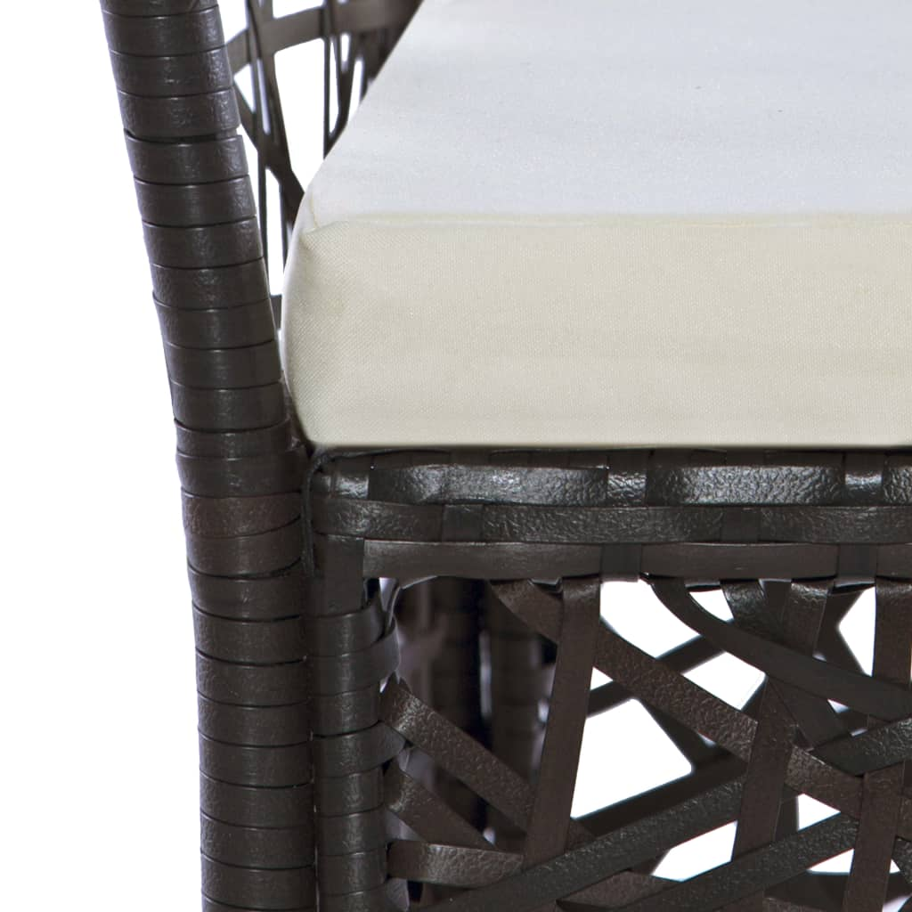 9 Piece Outdoor Dining Set Poly Rattan Brown 6