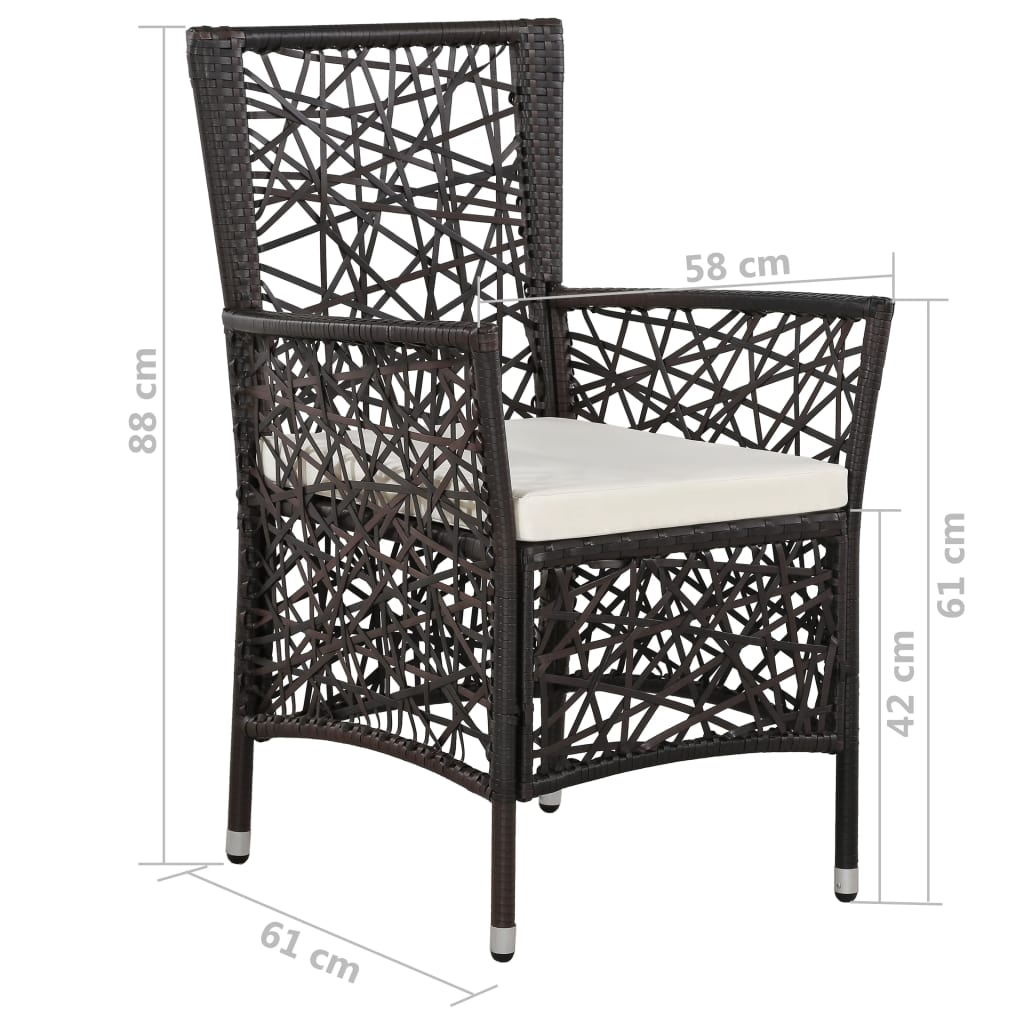 9 Piece Outdoor Dining Set Poly Rattan Brown 8
