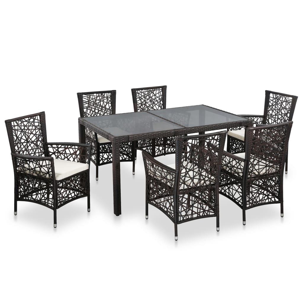 7 Piece Outdoor Dining Set Poly Rattan Brown 1
