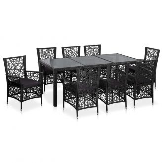 9 Piece Outdoor Dining Set Poly Rattan Black 1