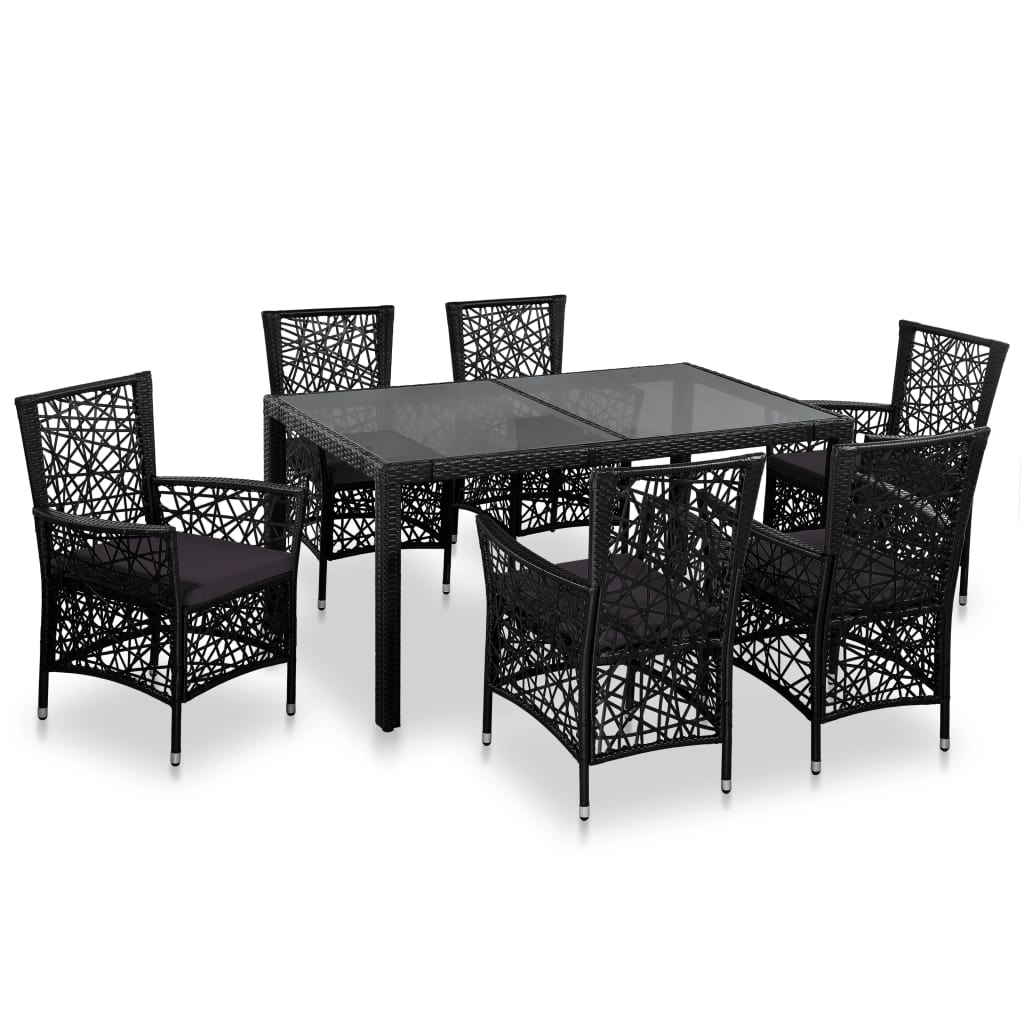 7 Piece Outdoor Dining Set Poly Rattan Black