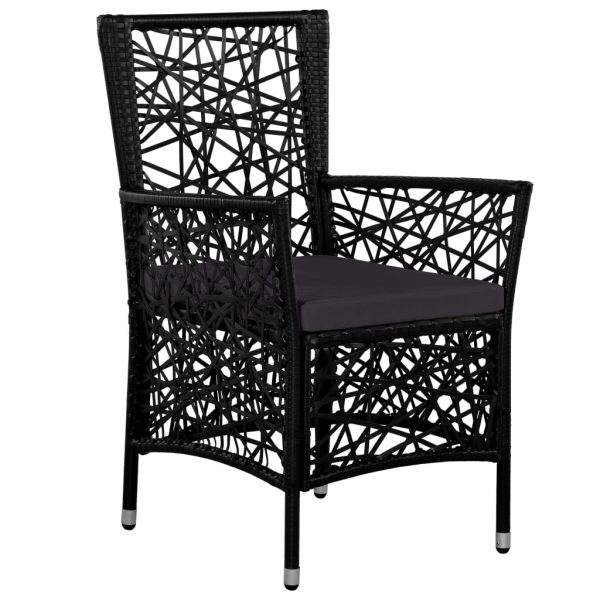 Outdoor Chairs 2 pcs with Cushions Poly Rattan Black 2