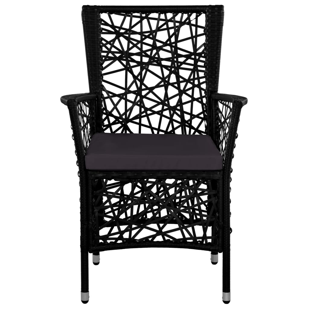 Outdoor Chairs 2 pcs with Cushions Poly Rattan Black 3