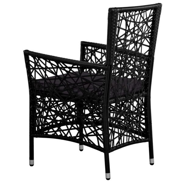 Outdoor Chairs 2 pcs with Cushions Poly Rattan Black 5