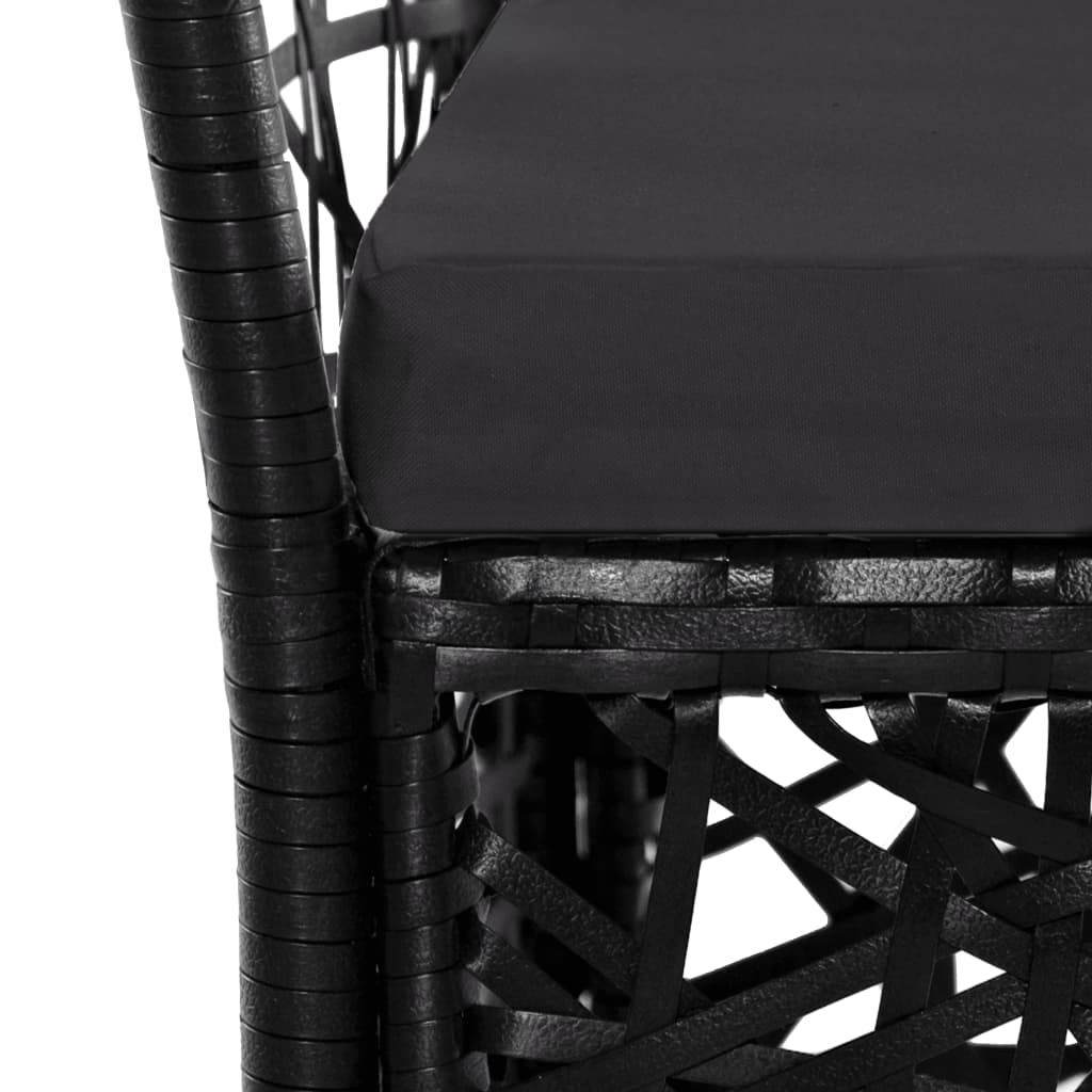 Outdoor Chairs 2 pcs with Cushions Poly Rattan Black 6
