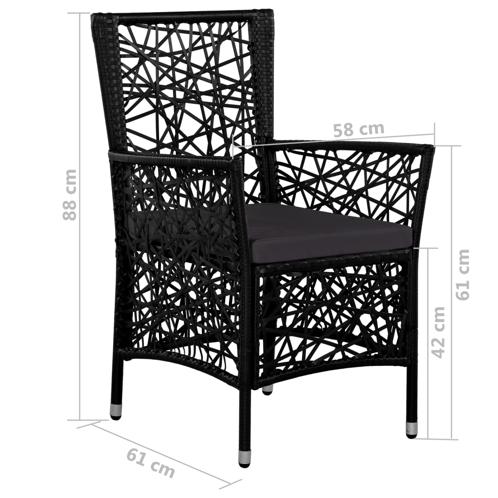 Outdoor Chairs 2 pcs with Cushions Poly Rattan Black 7
