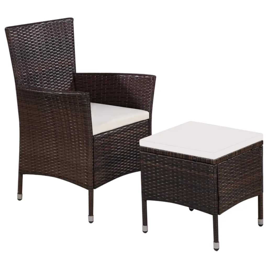 Outdoor Chair and Stool with Cushions Poly Rattan Brown