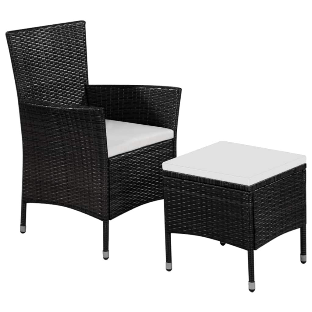 Outdoor Chair and Stool with Cushions Poly Rattan Black 1