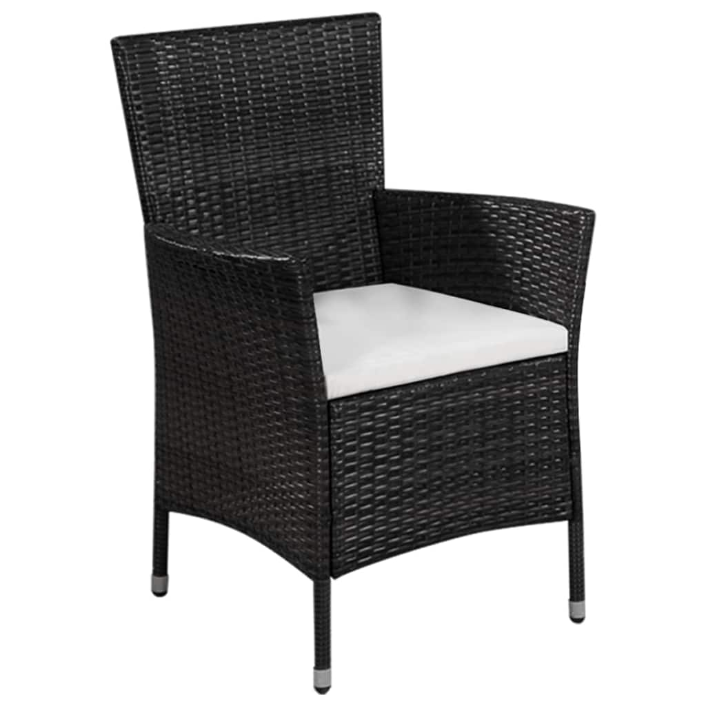 Outdoor Chair and Stool with Cushions Poly Rattan Black 2