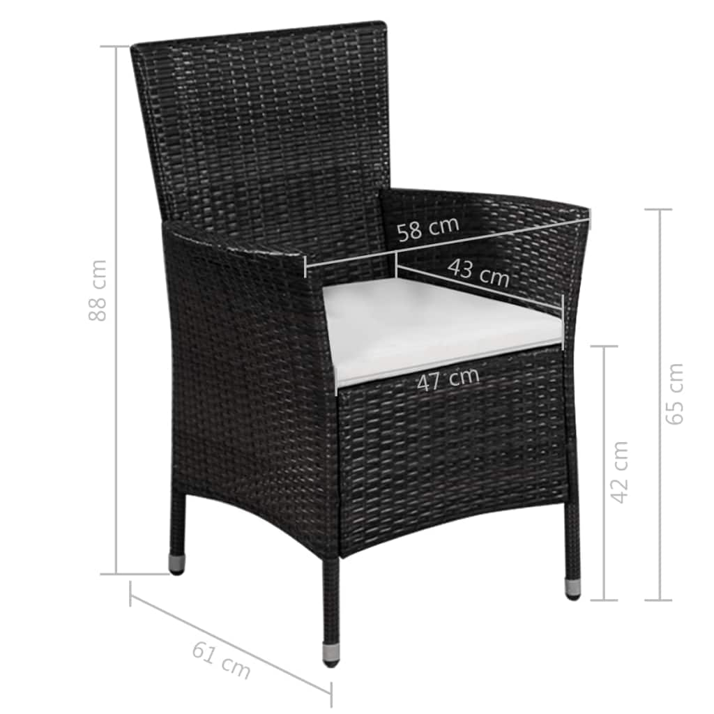 Outdoor Chair and Stool with Cushions Poly Rattan Black 4