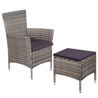 Outdoor Chair and Stool with Cushions Poly Rattan Grey 1