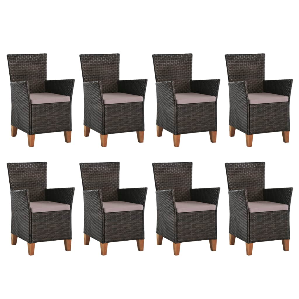9 Piece Outdoor Dining Set Poly Rattan Black and Brown 4