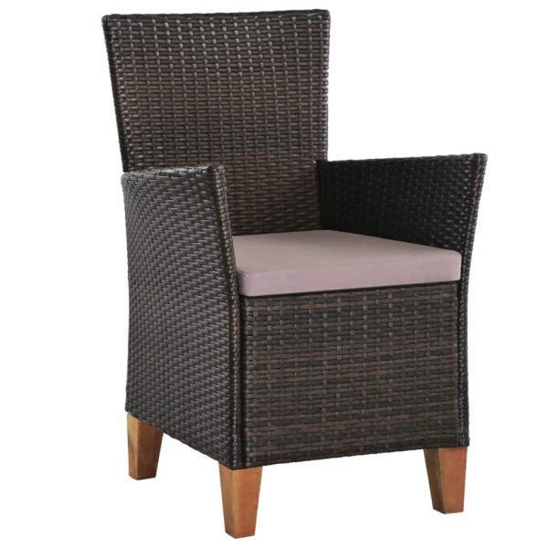 Outdoor Chairs with Cushions 2 pcs Poly Rattan Brown 2