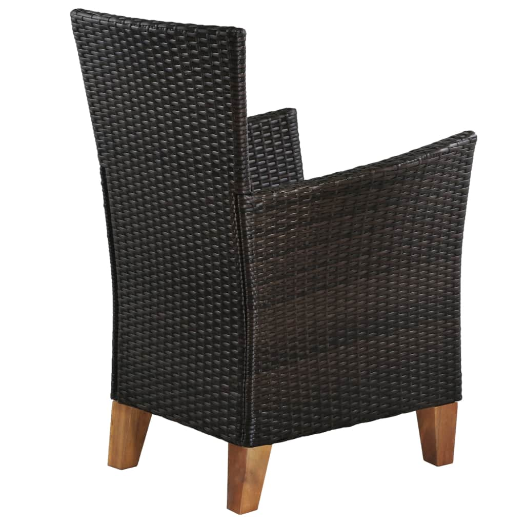 Outdoor Chairs with Cushions 2 pcs Poly Rattan Brown 4