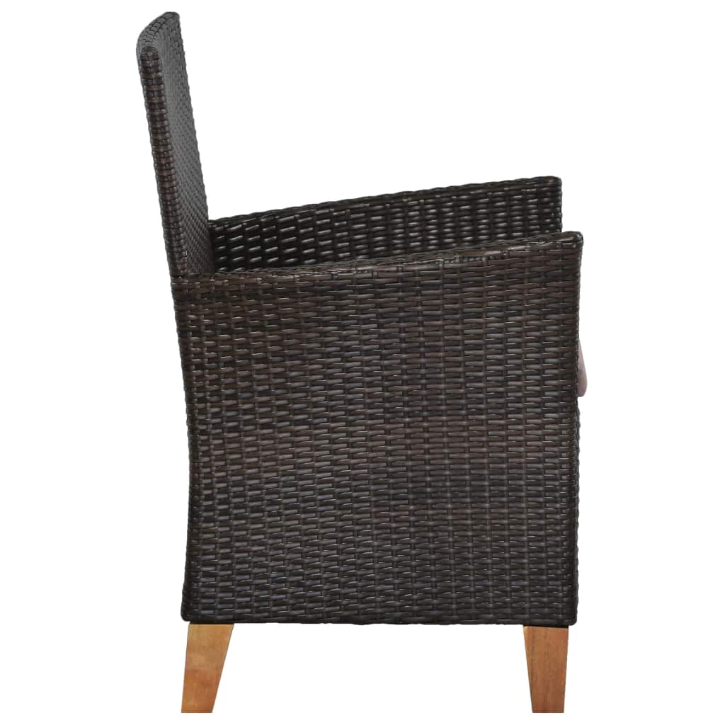 Outdoor Chairs with Cushions 2 pcs Poly Rattan Brown 5