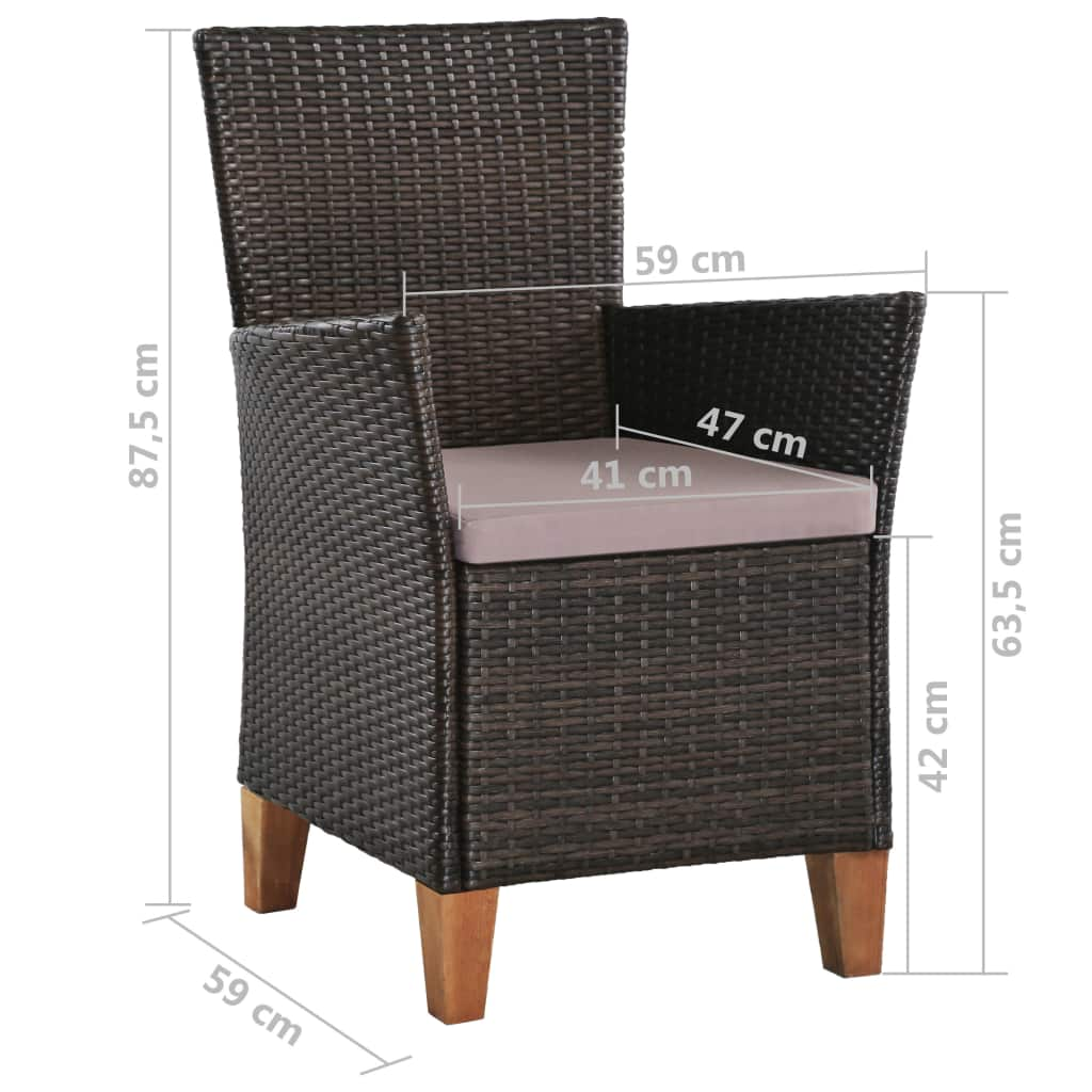 Outdoor Chairs with Cushions 2 pcs Poly Rattan Brown 8